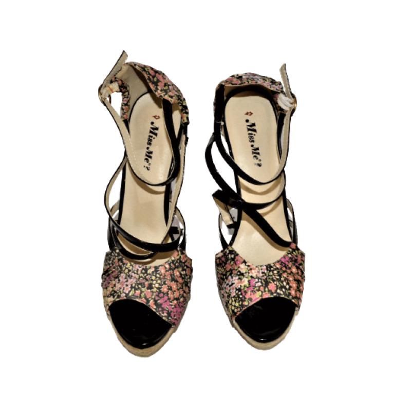 Дамски сандали на ток в черно 10J0098-BК