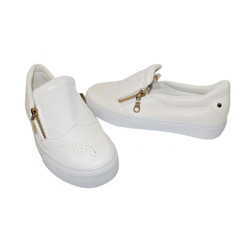 Дамски обувки с ципове в бяло AN1917-W