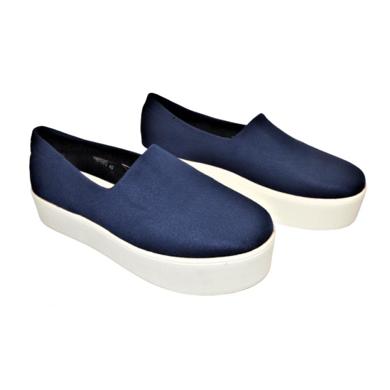 Дамски обувки на платформа в тъмно синьо 16-145018