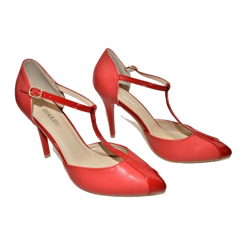 Дамски елегантни обувки на ток в червено 963-2