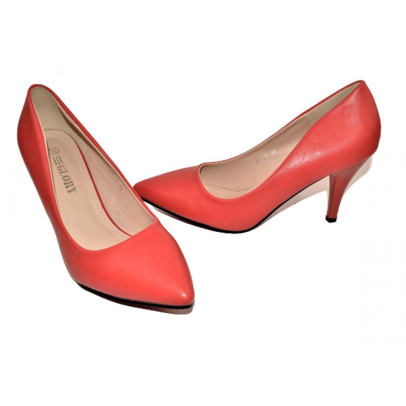 Дамски елегнатни обувки на ток в червено 967-3