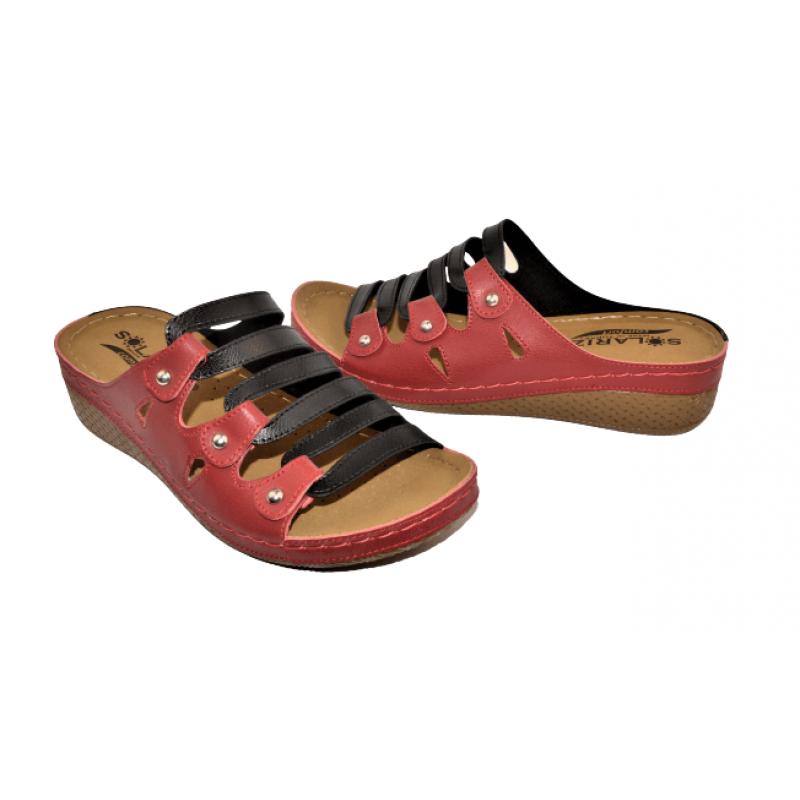 Дамски чехли в червено и черно S770