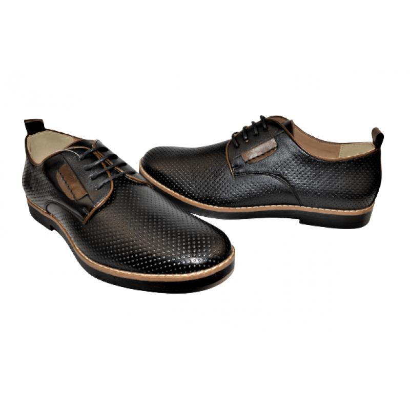 Мъжки елегантни обувки в черно 15-5174-BK