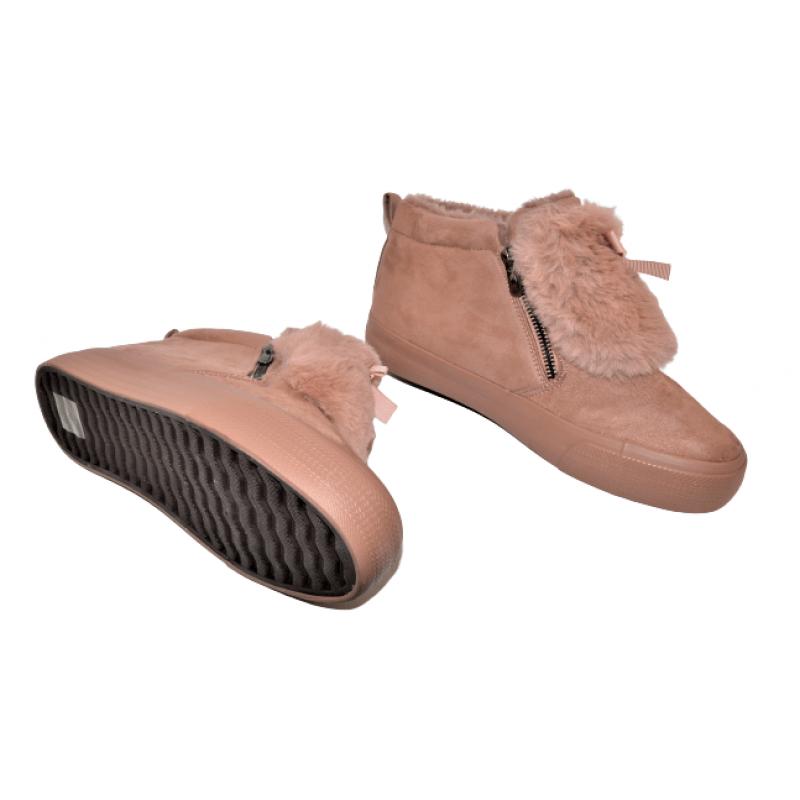 Дамски велурени боти в розово с пухче 412-4-PK