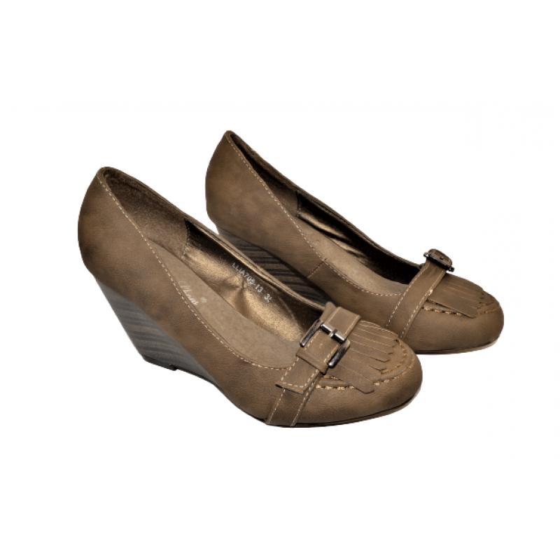 Дамски елегантни обувки на платформа в кафяво LLIA705-10
