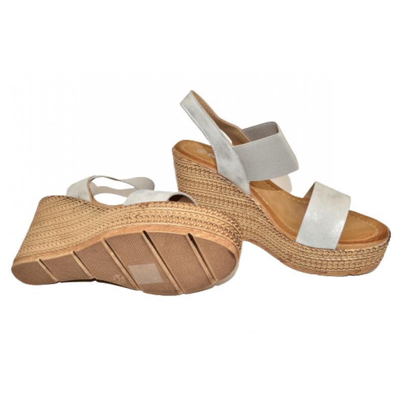 Дамски сандали на платформа в бяло 6440-2