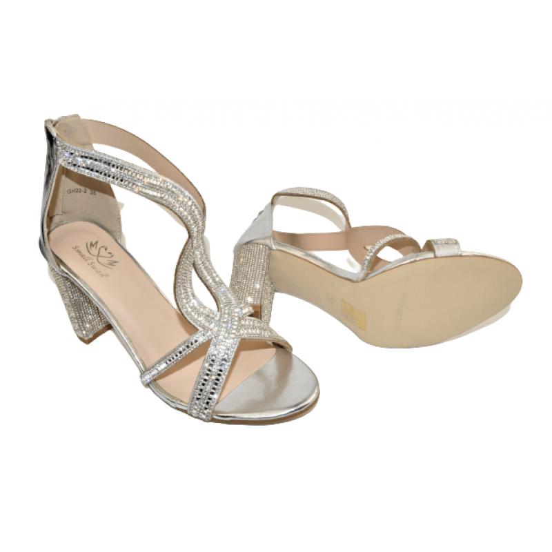 Дамски елегантни сандали на ток в сребристо GH22-2