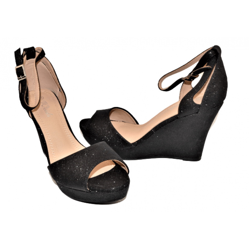 Дамски елегантни сандали на платформа в черно Q729-BK