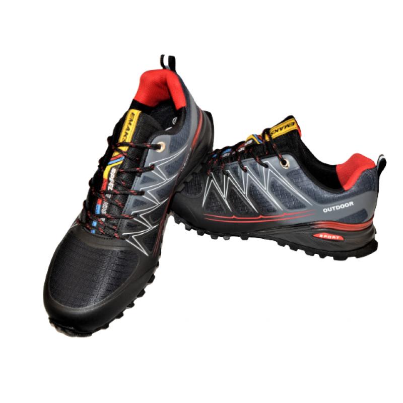 Мъжки маратонки в черно и сиво с червено 76