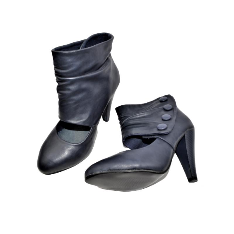 Дамски обувки на ток в тъмно синьо 323