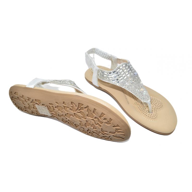Дамски сандали с прашка в сребристо 535