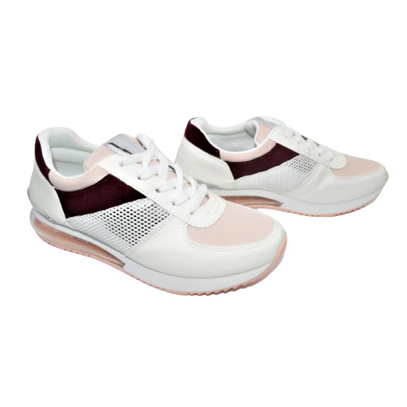 Дамски маратонки в бяло с розово и бордо 183