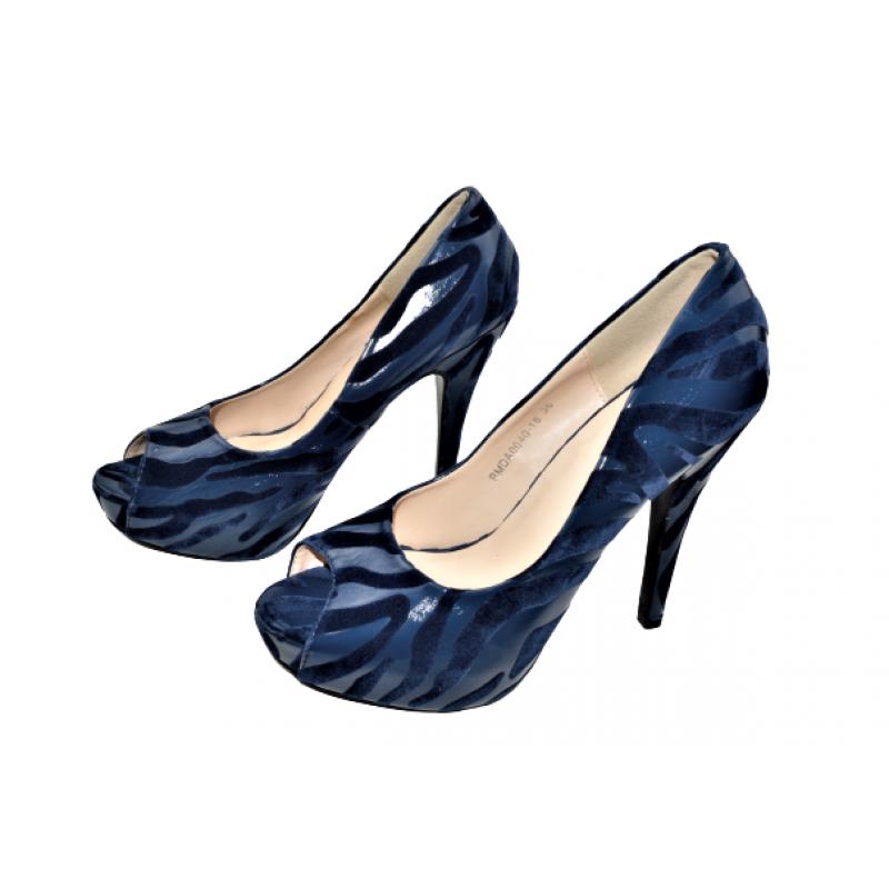 Дамски обувки на ток в тъмно синьо 318