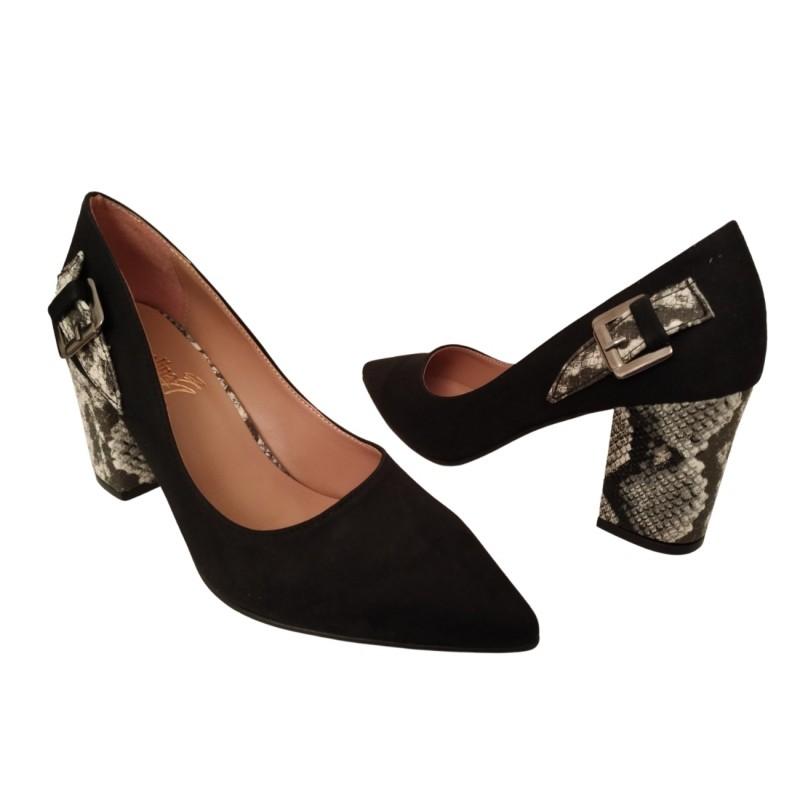 Дамски елегантни обувки с висок ток, змийски принт и катарама 635